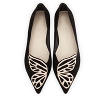 kelebek kanatlı ayakkabılar toptan satış-BIBI Kelebek Kanat flats Siyah Mavi Işlemeli Ayak Bale Daireler Süet Deri Sivri Burun Loafer'lar Shoes Femmes
