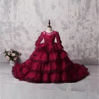 Wholesale Amazing Birthday - Luxury Multi-Layers Lace Appliques Amazing Flower Girls' Dresses with Long Sleeves Sheer Jewel Neck Dark Red Beads Long Train Girls' Pageant