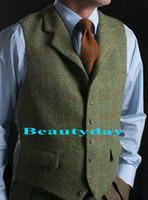 Wholesale men wedding vest style new for sale - 2019 New Wedding Wool Groom vests Dark Green V Neck men s tailor made wedding Party vests for men Groomsman Vest Prom Plus Size