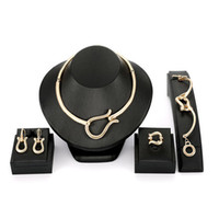 6a18e71d9bdf 18K Gold Plated Wedding Jewelry Sets Brand New Fashion Women High Quality  Geometric Alloy Necklaces Bracelet Ring Earrings 4-Piece Set JS502