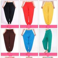 yoga-tops tanzen großhandel-Im Freien Yogahosen-Frauen-Baumwollweiche Ernte-Tanz-Abnutzungs-reine Farben-breite Hose weibliche Sportwear heiße Art 19xl Ww