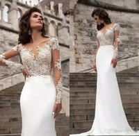 Wholesale T Back Chiffon Bridal Dress - Sexy Cheap Sheer Long Sleeves Lace Wedding Dresses 2017 Milla Nova Beach A Line Sweep Train Button Back Bohemian Wedding Dress Bridal Gowns