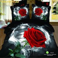 Wholesale doona cover sets - romantic valentine rose 100% Cotton Bedding Set 4Pcs Queen Size Duvet doona Cover Flat Sheet Pillow Cases Bed Linen Kit