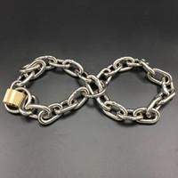 cadenas de esposas bondage al por mayor-Cadena multiusos con tamaño de bloqueo Esposas ajustables Restricción de esclavitud de acero inoxidable Adultos Juguetes Sexuales Accesorios de juego BDSM