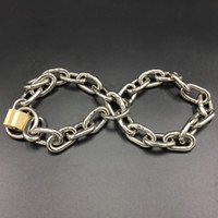 Wholesale locked chains bondage resale online - Multipurpose Chain With Lock Size Adjustable Handcuffs Stainless Steel Bondage Restraint Adult Sex Toys BDSM Game Accessories