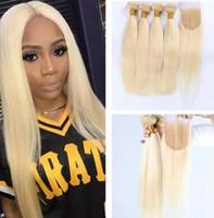 sarışın saç rengi 613 toptan satış-Kapatma Ile brezilyalı İnsan Saç Sarışın Örgüleri Düz Saf # 613 Bleach Sarışın Renk 4x4 Dantel Kapatma Ile 3 Demetleri uzantıları
