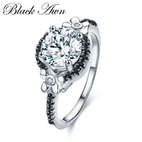 Wholesale round engagement rings - [BLACK AWN] Flower 925 Sterling Silver Jewelry Black Stone Wedding Rings for Women Engagement Ring Round Zircon Femme Bague C006