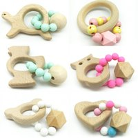 Wholesale stroller accessories toys - Wooden Baby Bracelet With Silicone Beads Practical Lovely Molars Stick Organ Teething Toys Creative Kid Rattle Stroller Accessories dh YY