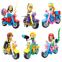 ingrosso blocchi per le ragazze-Super Hero Girls Wonder Woman Supergirl Poison Ivy She-Hulk Toy Figure Building Block