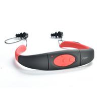 base maestra al por mayor-Resistente al agua 4GB 8GB Reproductor de MP3 Auriculares Subacuática banda para el cuello Natación Reproductor de mp3 con Radio FM Auriculares Estéreo de Audio