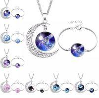 12 Styles Unicorn Glass Cabochon Necklace Bracelet Jewelry Sets Silver Moon Time Gemstone Cabochon Necklace Bracelet Set