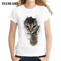 Wholesale Top Pussy - Wholesale-Summer Unique 3d Cute cat Design T Shirt Women's short sleeve lovely pussy print Tops cool Hipster tees cute girl t shirt px963