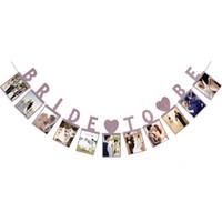 foto-veranstaltungen großhandel-Bride Photo Frame Papier Flagge Party Glocke Girlande Dekoration Banner Bunting für Hochzeitsereignis