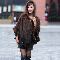 ingrosso scialle di poncho nero-Fashion Genuine Women Knitted Real Poncho in pelliccia con cappuccio con zip Stola Cape scialli e avvolge la femmina autunno Inverno nero