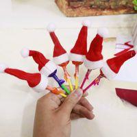 mini yılbaşı şapkası toptan satış-Mini Şapka Lolipop Nonwoven Kumaş Küçük Kap Noel Baba Merry Christmas Dekor Festivali Parti Malzemeleri Toptan 0 35yq gg