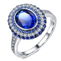 elmas sonsuzluğu toptan satış-Drop Shipping Infinity Marka Yeni Lüks Jewelr18k beyaz altın Dolgu Oval Kesim Mavi Safir CZ Elmas Kadınlar için Düğün Band Yüzük Lover Hediye
