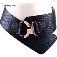 Wholesale leather cowhide strap wholesale - Cowhide Leather Wide Belts Delicate Elastic Bow Design Straps Upscale Gold Buckle Waist Seal For Women 35jz B