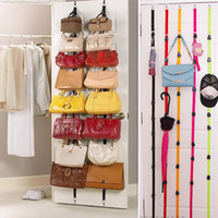Wholesale purses rack resale online - Adjustable Storage Holders And Racks For Bag Clothing After Door Hanging Purse Hook Rack Rope Lanyard Box Pack HH7
