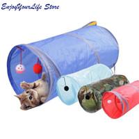 tren de juguete largo al por mayor-3 Colores Cat Tunnel Animal Play Toy Cat Training Plegable a granel Funny Cat Toys Producto con Bola Larga Calidad