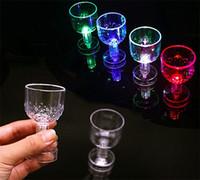 Wholesale religious supplies - Wine Glasses Plastic Colorful Transparent Goblet LED Light Cup Party Decoration Bar Supplies New Arrive 1 4zp C