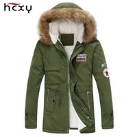 Wholesale men s jacket big collar resale online - 2017 New Arrival Men S Thick Warm Winter Down Coat Fur Collar Army Green Men Parka Big Yards Long Cotton Coat Jacket Parka Men