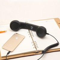 Wholesale Receiver Telephone - Retro Telephone Radiation-proof Receivers Classic Earpiece MIC Microphone Cellphone Headset 3.5mm Headphone For Moblie Phone PC