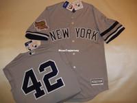 Wholesale 4xl tall - Wholesale custom New York #42 MARIANO RIVERA 1996 WORLD SERIES Baseball Jersey GRAY New Mens stitched jerseys Big And Tall SIZE XS-6XL For