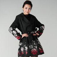 tranchée jacquard achat en gros de-Nouvelles femmes hiver mode impression Trench-Coat Rose Jacquard double boutonnage Slim Trench femmes vêtements de grande taille