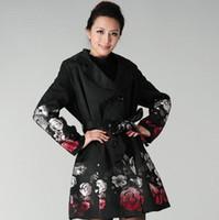 jacquard zanja al por mayor-Nuevas mujeres de invierno Moda Trench Abrigo Rose Jacquard Doble Breasted Slim Trench Mujeres de prendas de vestir exteriores más el tamaño