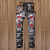 Wholesale Military Biker Patches - 2018 New Spring Fashion Brand Of Mens Jeans Brand Hole Straight Nostalgic Patch Biker Skinny Jeans Men vaqueros hombre Trousers
