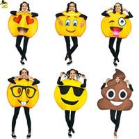 maskotlu erkek çocuk kostümleri yetişkinler için toptan satış-Komik yüz Emoji Parti Kostüm Sünger Giyim Fantezi Elbise Yetişkinler Için Noel partisi Kostüm Suit maskot