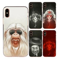 Wholesale customize mask - For Apple iphone X 8 7 6 6S Plus 4S 5C 5S Case Cover Soft TPU Silicone Cool Smoking Glasses Mask Monkey Orangutan Painted Protective Shell