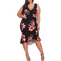 4xl kleid rüsche großhandel-4XL Plus Size Kleider 2018 Party Frühling Sommer Rüschen Etuikleid Sexy V-Ausschnitt ärmellose Tall Frauen Sommerkleid Schwarz Vestidos