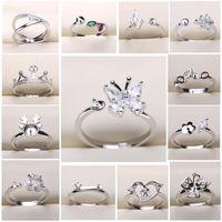 Shiny! DIY Ring Settings Fashion Jewelry 925 Silver Pearl Ring Settings Zircon Silver Ring Settings for Women Adjustable Size Christmas Gift