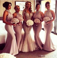 Wholesale sexy mermaid halter wedding - 2018 Halter Mermaid Bridesmaid Dresses Beads Neck Satin Country Maid of Honor Dresses Long Pleas Low Back Sexy Party gowns Wedding Party