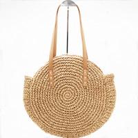 bolsos hechos a mano moda de verano al por mayor-Bolso redondo hecho a mano de la rota de la moda Bolso de paja de la cuerda de punto de la bolsa de verano del bolso de la playa E44