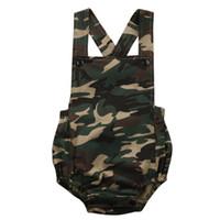 камуфляжный комбинезон оптовых-Cool Camouflage Baby Romper 2018 Summer Sleeveless Baby Boys Girls Jumpsuit Camo Print One Piece Sunsuit