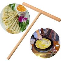 gold papppapier groihandel-1 stück Praktische T Form Crepe Maker Pfannkuchen Teig Holz Treuer Stick Home Küche Werkzeug Kit DIY Verwenden