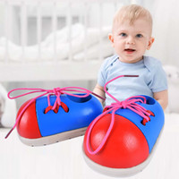 Wholesale rope wood toy resale online - Shoelace Small Wooden Toy Shoes For Children Learn To Wear A Rope Early Education Intelligence Toys Tie The Shoelace pd W