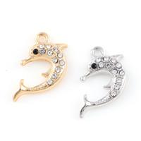 ingrosso mestiere dell'oceano-16 * 25mm Argento Mini Ocean Crystal Delfino Shell ciondoli gioielli ciondolo rendendo fai da te fascino artigianale fatti a mano