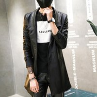 0d443e372615 Mode Pu Leder Herren Blazer Mantel Jacke Slim Fit Lange Leder Trenchcoat  Jaqueta de couro Fabrik-direkt-Kleidung