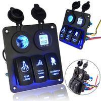 Wholesale 12v marine switches resale online - DHL V V Gang Switch Panel Circuit Blue Led Rocker Breaker Car Boat Marine