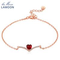 granat herz armband großhandel-Lamoon-Liebes-Herz-Charme-Armband für Frauen 100% natürlicher roter Edelstein 0.3ct Granat 925 Sterlingsilber-feiner Schmuck 18KGP LMHI011