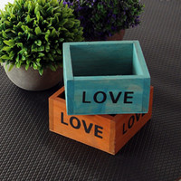Wholesale wood flowers wholesale - Retro Flower Pots Succulent Plant Box Square Mini Jewelry Storage Boxes LOVE Letter Wooden Garden Pot High Quality 3 2hx BW