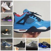 Wholesale hot pink jeans - Hot 4 Cactus Jack Raptors Jeans Blue White Black KAWS Encore Men 4s Basketball Shoes Athletic Sport Sneakers mens Trainers Size 7-13