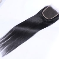 Wholesale Light Brown Wig Closures - High Quality Brazilian Faover Human Hair 130% Density Black Color Size 4*4 Silky Straight Closure Natural Hairline