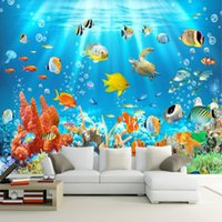 Wholesale fish paper roll - 3D Kids Wallpaper Mural Underwater World Fish And Coral Photo Wall Paper Children's Room Background Wall Custom 3D Murals