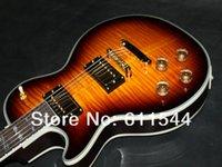 tienda de guitarras eléctricas zurdas. al por mayor-Custom Shop Left Hand MS Sunburst Guitarra eléctrica Alta calidad Wholesale2018