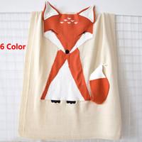 adultes couvertures bébé achat en gros de-6 Couleurs Fox Laine Tricoté Couvertures Bébé Enfants Enfants Nouveau-Né Adulte Crochet Lit Canapé Couverture Swaddle Climatisation Quilt Cadeaux WX9-222