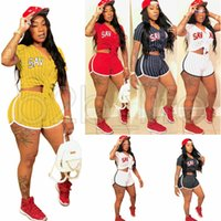Wholesale sexy xxl clothing resale online - Women Summer Striped Baseball Clothing Two Piece Set Tracksuit Casual V Neck T Shirt Crop Top Shorts Outfit Sexy Sports Gym Suit AAA634